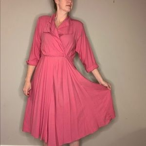 Vintage Pink Midi Dress with Shoulder Pads